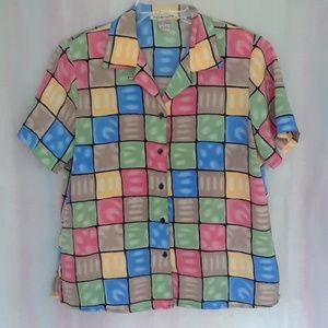 Notations Multi-Color Squares Blouse
